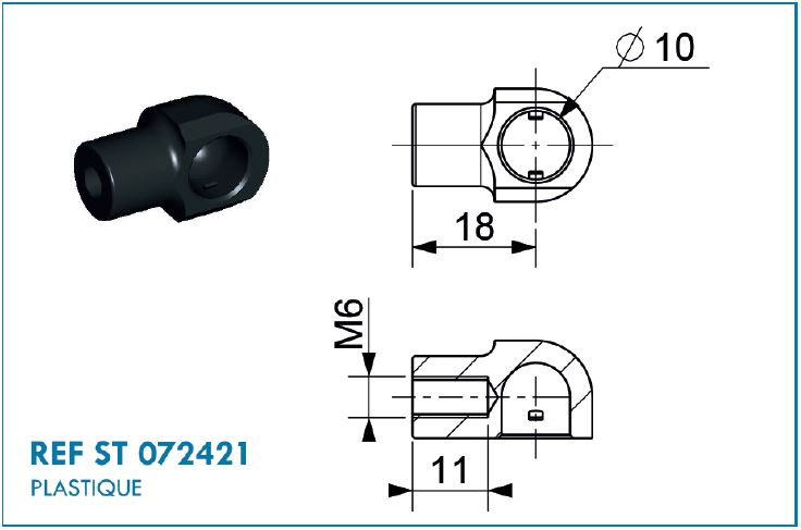BALL SOCKET M6 D10 NYLON