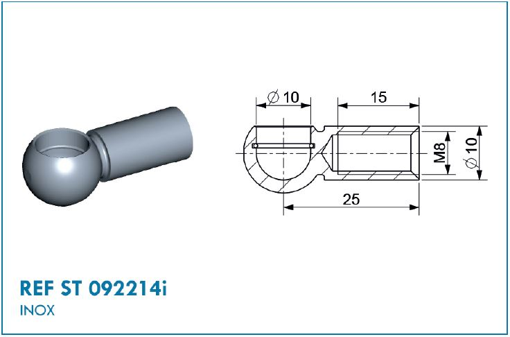 BALL SOCKET D10 STAINLESS STEEL THREADED M8