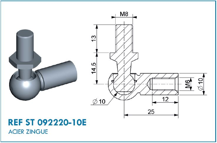 BALL JOINT D10 L.25MM M8/M6