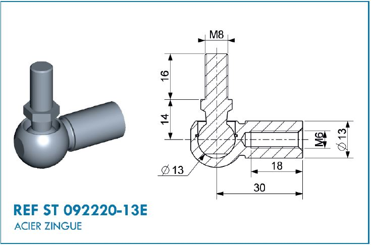 BALL JOINT D13 L.30MM M8/M6