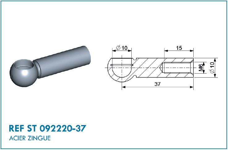 BALL SOCKET M6 D10 E=37MM
