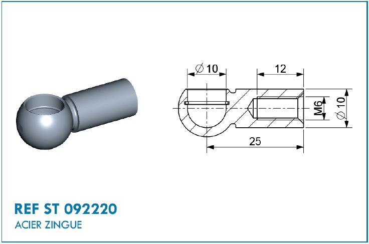 BALL SOCKET D10X25MM
