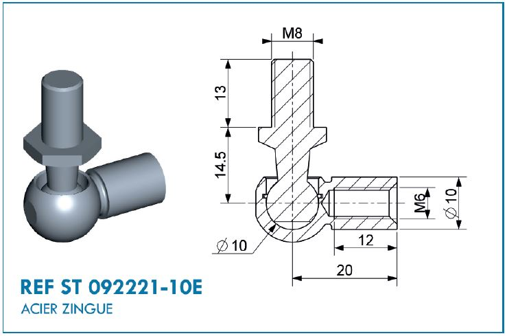 BALL JOINT D10 L.20MM M8/M6