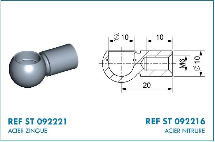 BALL SOCKET D10.STEEL 20MM