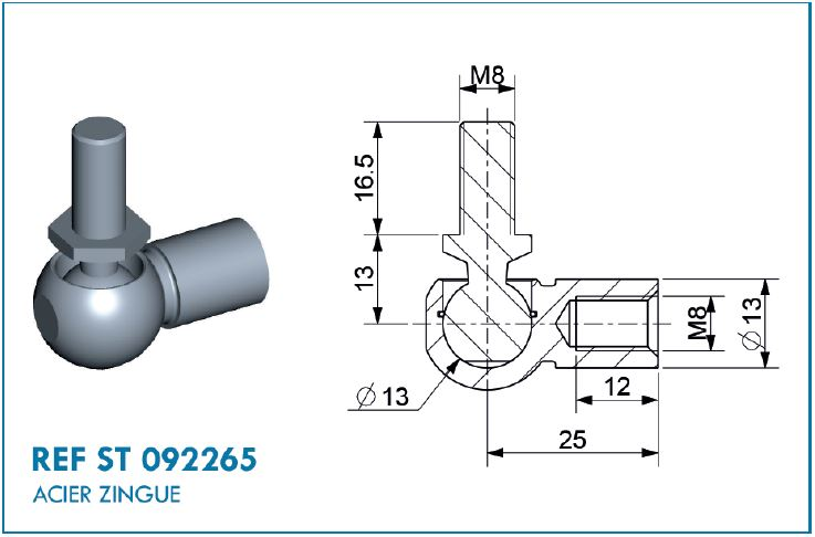 BALL JOINT D13 L.25MM