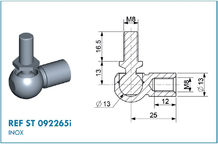 BALL JOINT D13 STAINLESS STEEL M8/M8
